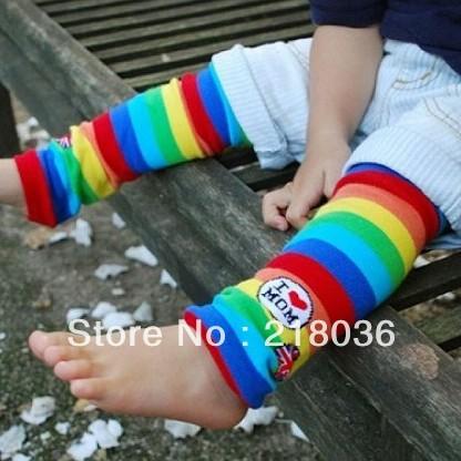 10 pair Red Stripe Spring Summer rainbow striped baby knee socks I love mom children leg warmers Children C963(China (Mainland))