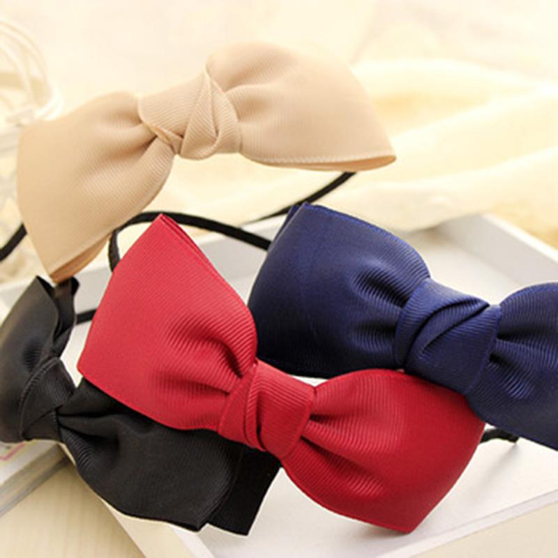 New Fashion Big Bows Girls Headband with Grosgrain Ribbon Headwear for Women Hair Accessories(China (Mainland))
