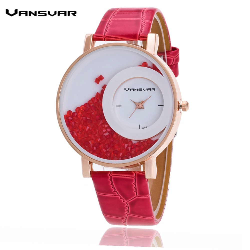 Vansvar Brand Fashion Leather Strap Women Rhinestone Watch Casual Quartz Relogio Feminino Gift 656 - aiwise store