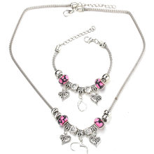 6 Colors Heart Shaped Necklace Bracelet Set Fine Silver Bead Hollow Chain Beaded Bracelet With Hooks DIY Making Pendant Jewelry(China)