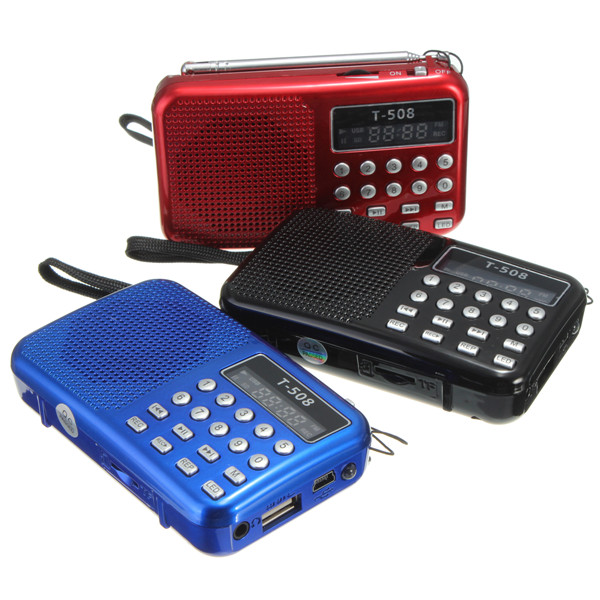 Mini Portable dual band Rechargeable Digital LED display panel Stereo FM Radio Speaker USB TF mirco for SD Card MP3 Music Player