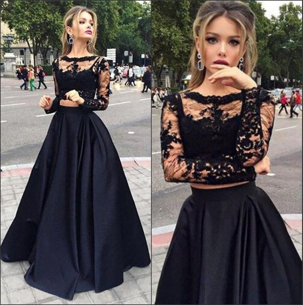 Hot Selling High-Necked Long-Sleeved Evening Dresses Retro Lace Deco Evening Gown Black Two Pieces Long Evening Dress(China (Mainland))