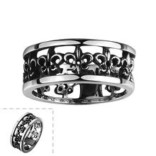 US# 8-12 Lureme Fashion Punk Ring Stainless Steel Hollow Out Printing Rings for Man Gothic Biker Jewelry