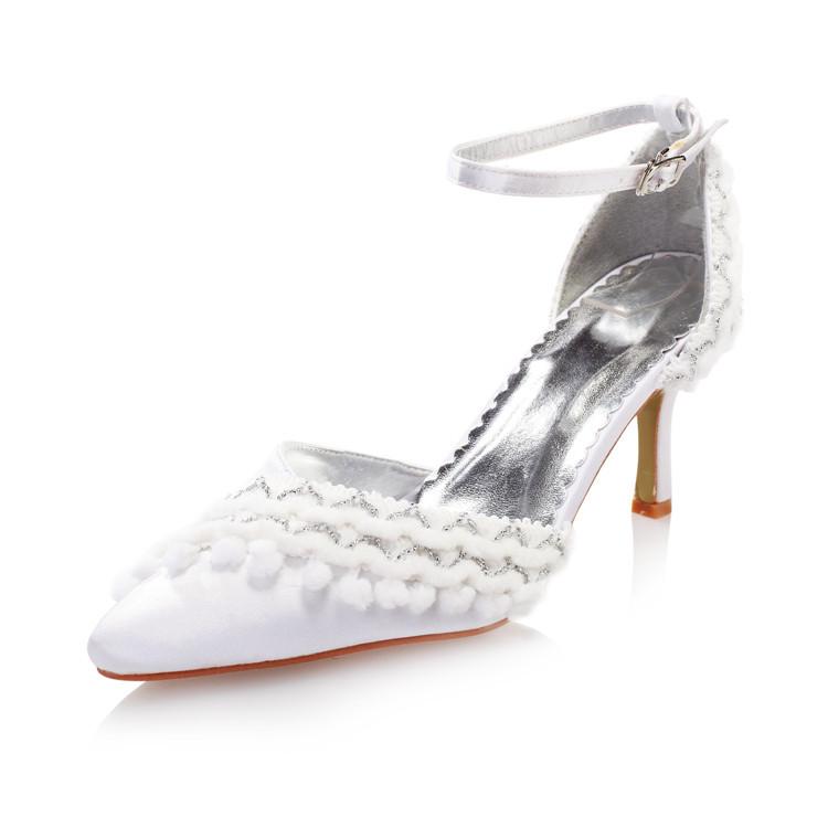 Фотография 2015 new fashion lace wedding Shoes Women Bridal dresses wedding Shoes elegant pointed Toe bridesmaid rhinestone Prom high heels