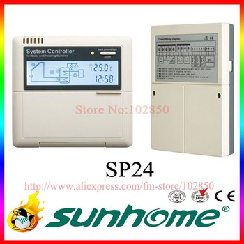 DHL Free Shipping,Solar Water Heater controllerSP24,110/220V,LCD display,3 sensors input,2relays and 1 auxiliary heating outputs
