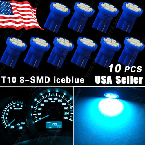 Hot Sale10 PCS/lot t10 Side Wedge 8-SMD Car LED Bulbs Guage Instrument Cluste Aqua Ice Blue Air Conditioning Indicating Lamp(China (Mainland))