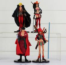 4pcs/lot One Piece Roronoa Zoro Nami Sanji Red Clothes Anime The New World Action Figures Toys Collection Model Toys Gifts