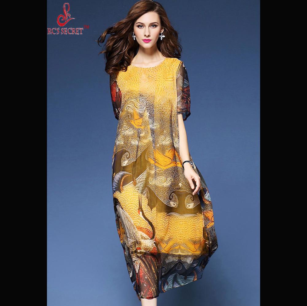 RC'S SECRET dress 2017spring Summer Casual Dress Long Silk Floral Printing Maxi Vestido De Festa Vintage Casual Dress Plus Size(China (Mainland))