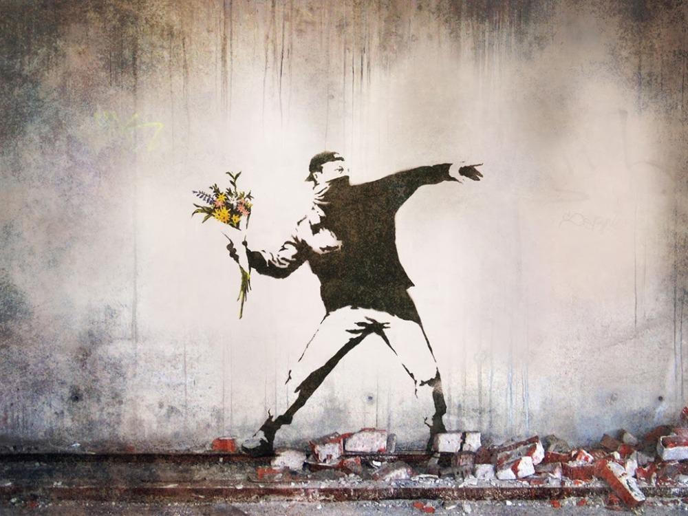 """Banksy Peace Art Graffiti Artist Fabric Poster 32"""" x 24"""" 20""""x13""""--03(China (Mainland))"""