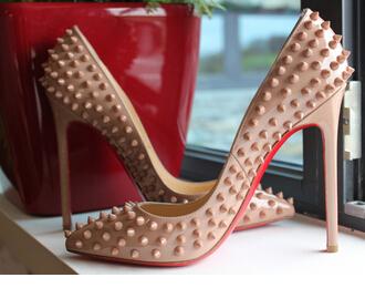 designer heels red bottom dtet  120mm nude rivets pumps designer Women's Pigalle Red Bottom Shoes patent  leather Spikes Heels