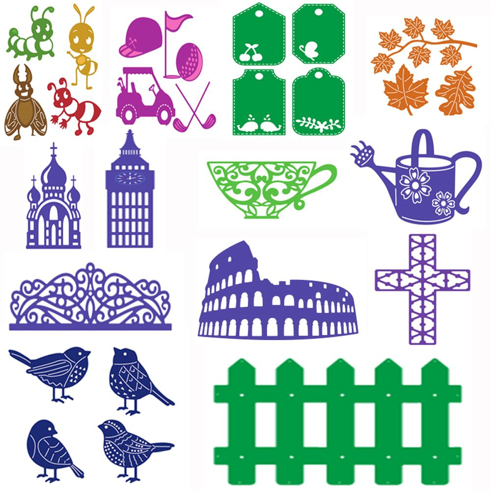 1PC DIY Cross Bird House Lace Fence Bowl Cute Newest Metal Cutting Dies Stencil Scrapbook Album Paper Card Embossing Card Craft