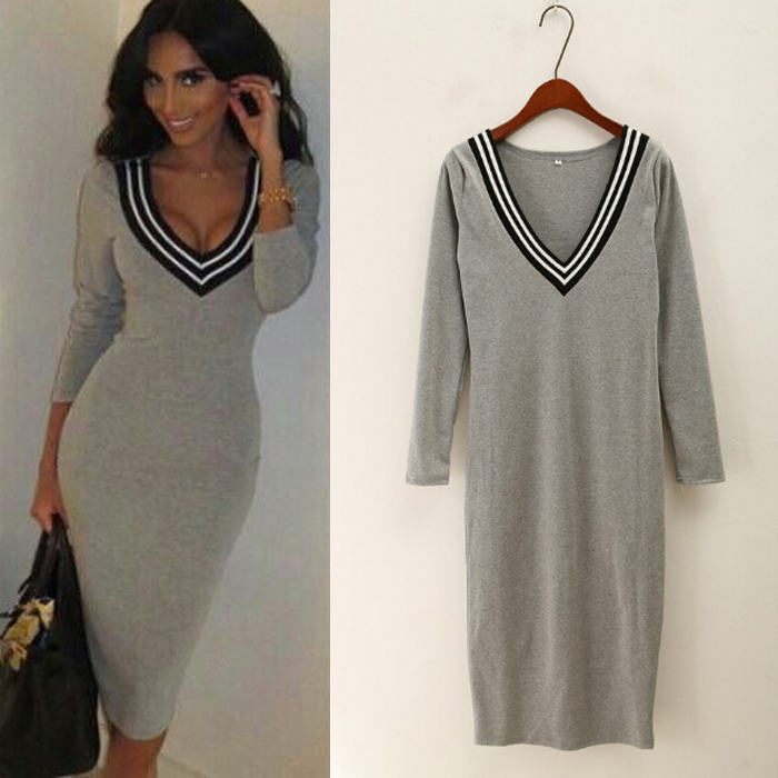 2015 vestidos mujer casuales grey V-neck long sleeve midi knitted 100% cotton vestido feminino casual bodycon dress free ship - shirley chan's store