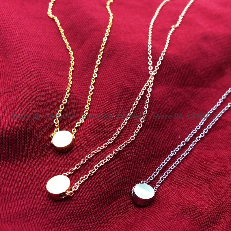 3 Color 18K Gold/Rose Gold/Silver Plated Women Necklace Pendant Made in Stainless Steel 40-45cm Length Chain(China (Mainland))