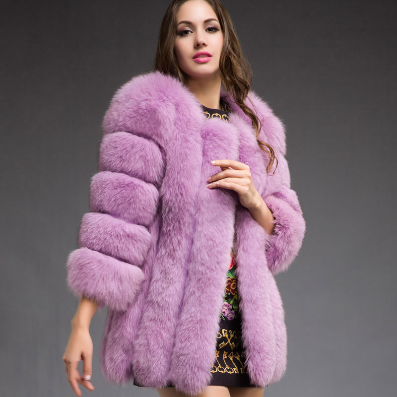 Luxury Winter New Fashion Natural Furs Coats Lady Real Fox Fur Coat Women's Overcoat Genuine Leather Jacket - store