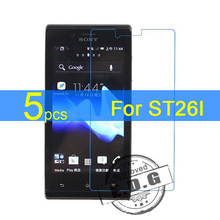 5pcs Ultra Clear LCD Screen Protector Film Cover For Sony Xperia J ST26I Protective Film + cloth