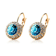 E321001 New luxurious round crystal earring zinc alloy rose gold plated silver plated with Austria crystal fashion lady jewelry(China (Mainland))