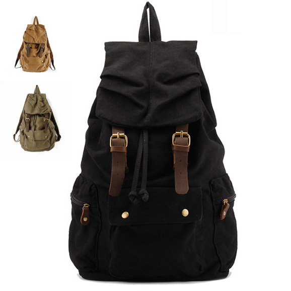 Cotton Canvas Backpack Straw String Outdoor Mountain Travel Bag Washed Canvas Bag with Leather Camping Rucksack Men Women Black(China (Mainland))