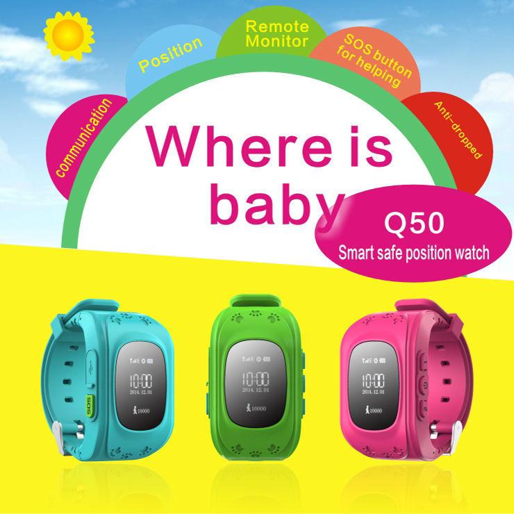 Newest Mini GPS Tracker Smart Watch Q50 Smart Watches Double Locate Remote Satellite Monitor Watch(China (Mainland))