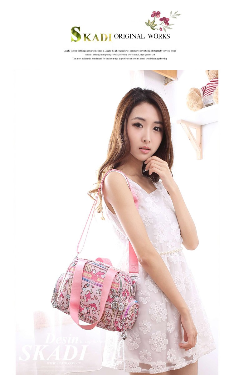 Multi-pockets Practical Lady Shoulder Bag Fashion Casual Cute Print Handbag Contrast Color Women Designer Durable Crossbody Bag