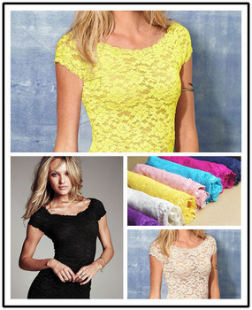 Sexy Floral Full Lace Short Sleeve TEE Shirt Stretch Scoopneck Blouse TOP Cute D