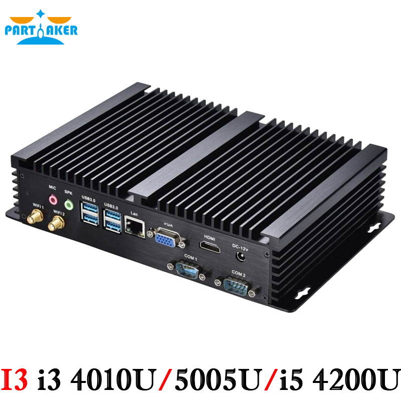 Industrial PC i3 4010U i5 4200U processor Fanless Computer Embedded PC Desktop HTPC with 2 COM 4 USB3.0(China (Mainland))