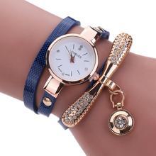 Women Watches Fashion Casual Bracelet Watch Women Relogio Leather Rhinestone Analog Quartz Watch Clock Female Montre Femme(China)