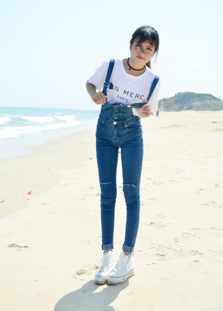Скидки на НОВАЯ Мода 2016 лето синий цвет чистого хлопка случайные женщины дыру разорвал кнопка fly спецодежда джинсы высокой талией джинсы женщин D12