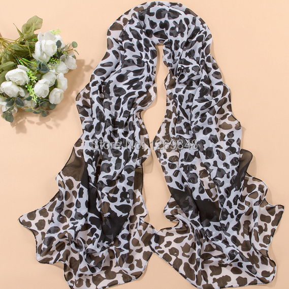 High Quality Hot Sale ,Summer,Autumn,Winter Accessories and Silk Chiffon Scarf Brown Leopard Print Shawl Tippet Scarve(China (Mainland))