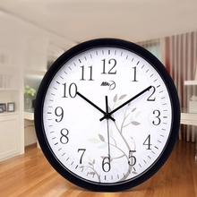 modern black plastic frame clock round battery classic 12hour wall clock watch with tree for home bedroom office decoration