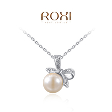 ROXI Brand Pearl Jewelry Big Pearl Pendant Necklace Bowknot Necklace Gold Silver Chain Royal Necklace Women