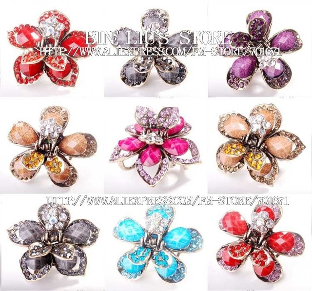 48PC/LOT Mixed style New arrival Crystal Rhinestone hairpins hair claw clip a2418-18 Free shipping