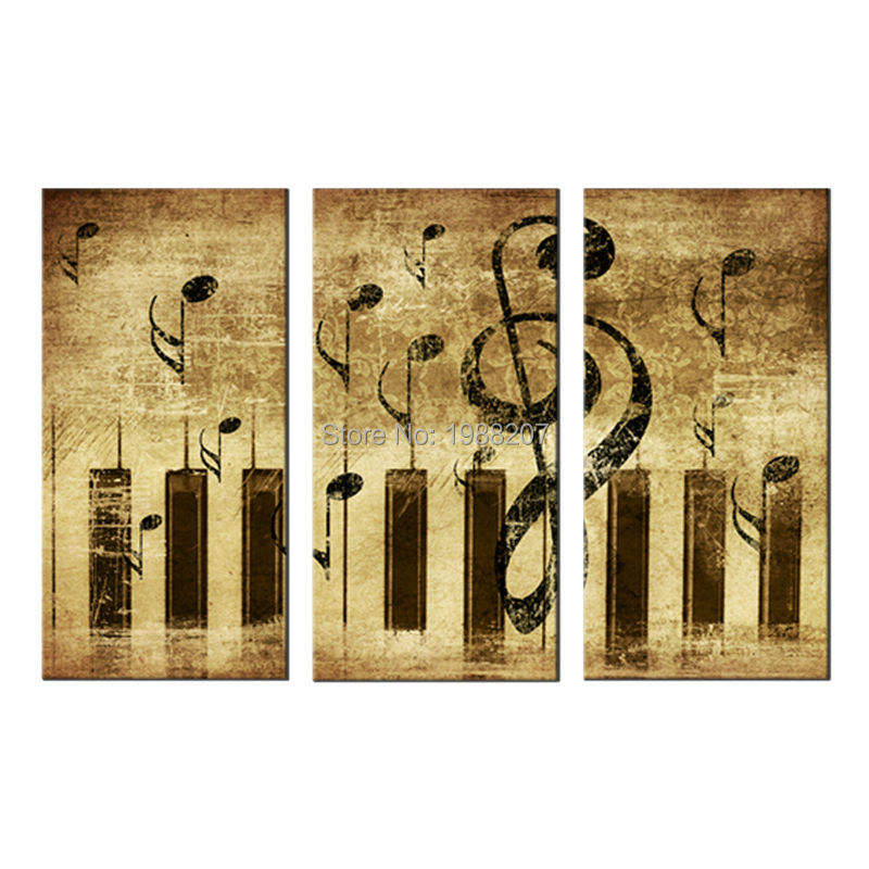 2018 3 Panles Piano Score Canvas Paintings Wall Art Painting Music ...