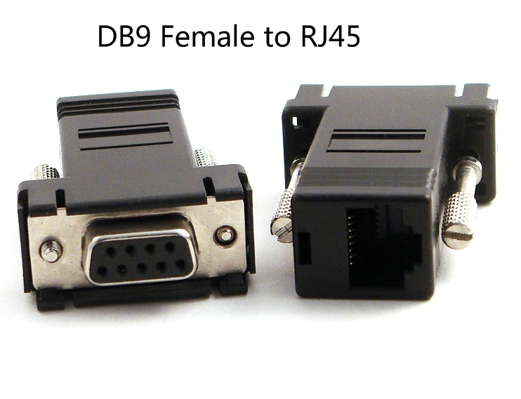 Free Shipping RS232 DB9 Female to RJ45 Female connector Adapter ,100PCS/lot(China (Mainland))