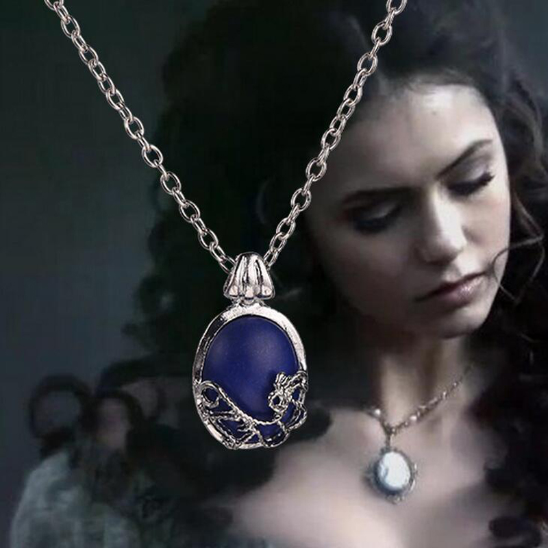 2015 Hot Sale New Arrival The Movie Vampire Diaries Elena With Natural Stone Pendant Short Necklace Blue Neckalces(China (Mainland))