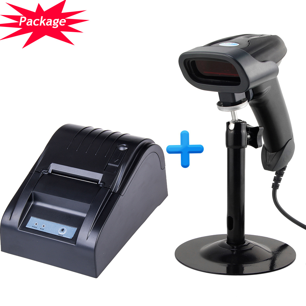 58mm usb thermal receipt printer pos printer and automatic usb bar code scanner NT-2016 + ZJ-5890T(China (Mainland))