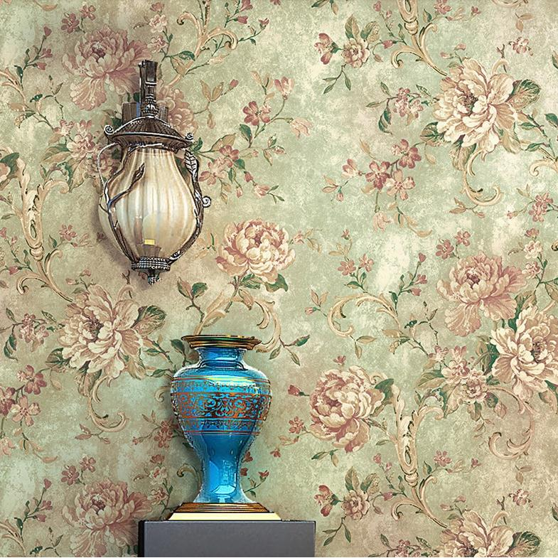 Retro vintage flowers thicken wallpaper durable wallpapers for Wholesale home decor
