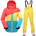 2016 New Ski Suit Women waterproof winter suits for women jacket pants snow sets thicken breathable