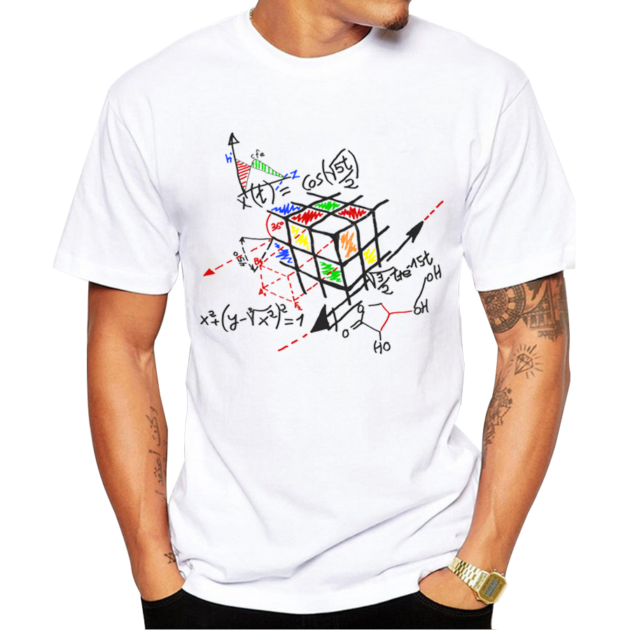 2016 new fashion math work design men t shirt short sleeve hipster tops rubik cube printed t. Black Bedroom Furniture Sets. Home Design Ideas