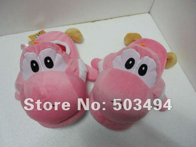 Pink Super Mario Yoshi Plush Toys Slippers, Indoor Slipper,PInk Yoshi Plush Doll Toys Slippers