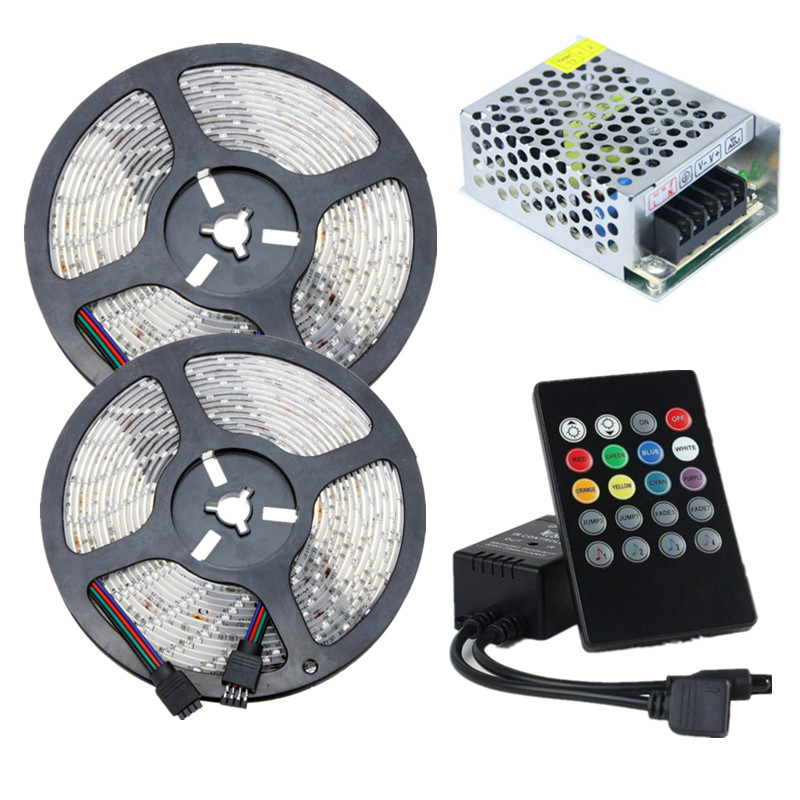 LED Strip 12V Waterproof RGB Tape Lighting SMD 2835 60leds/m LED Rope Light+Music RGB Controller+ AC 220 to 12V DC Transformer(China (Mainland))