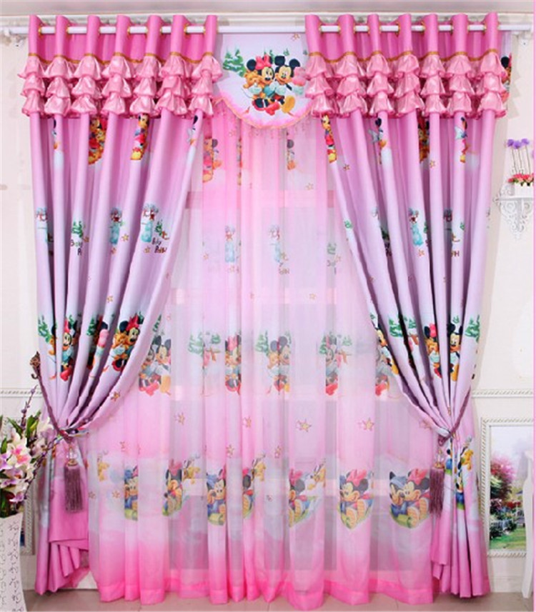 Home window decoration cartoon Children s curtains Pink Mickey blackout  curtain Girls bedroom   hyacinth store. pink curtains   ChinaPrices net