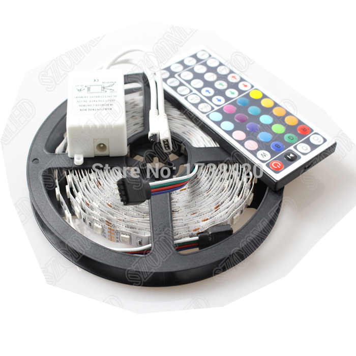 Free Shipping 5m 300LEDs Waterproof IP65 DC12V Changeable RGB LED Strip 5050 SMD Rope Light Lamp With 44keys Remote Controller(China (Mainland))