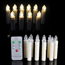10Pcs/lot Warm White Party Wedding Christmas Birthday Candle Led Lights Flameless Lamps+Wireless Remote Control(China (Mainland))