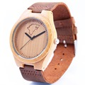 2016 Top brand Men s Bamboo Wooden watch nature Bamboo quartz Watch Real Leather Strap Men