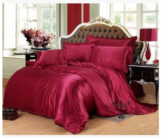 silk bedding set wine red california king size queen full twin fitted