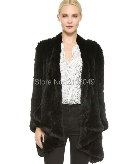 FC00105 Высокое качество натуральной шерсти зимних женщин реального трикотажные меха кролика пальто