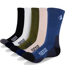 YUEDGE Marke männer Wicking Baumwolle Kissen Crew Socken Komfort Atmungs Casual Kleid Socken Winter Boot Socken (5 paare/paket)(China)