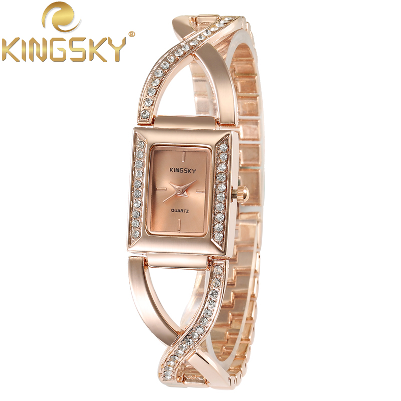 KINGSKY Wristwatch HIgh Quality CZ Crystall Alloy Band Watch Fashion Rectangle Analog Japanese Quartz for Girl Watches HE8008<br><br>Aliexpress