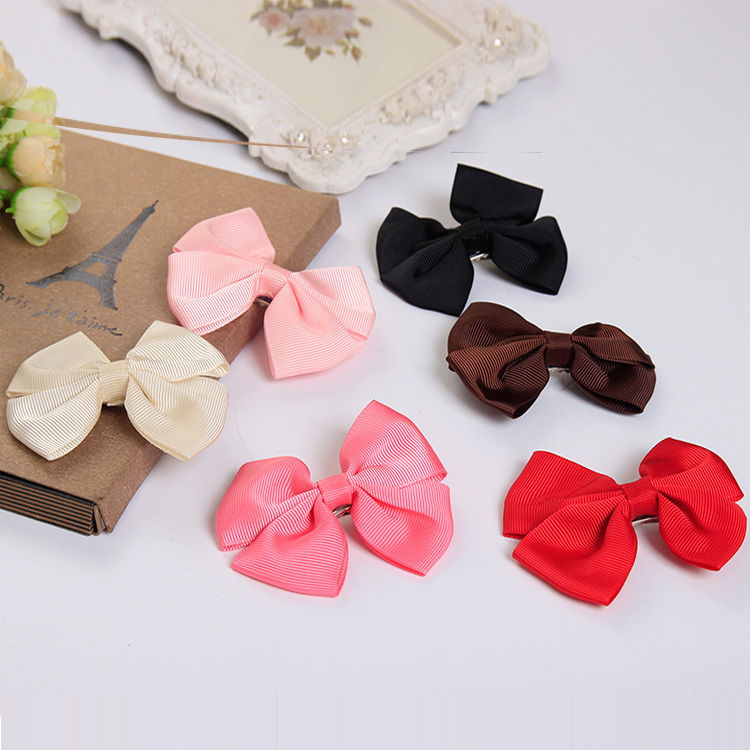 New Bows Boutique Solid Hair Clips Barrettes for Girls Children Kids Headwear Hair Accessories for Women(China (Mainland))