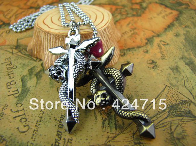 Free Shipping aggressively anime One Piece series cross Kito couple necklace(China (Mainland))